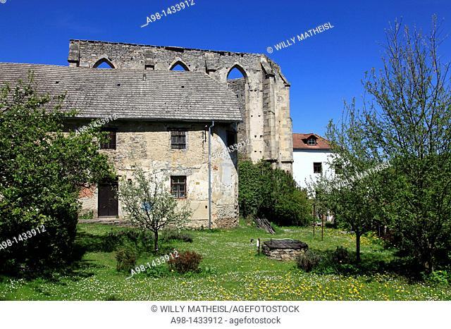 ruins of castle and abbey Kuklov German: Kugelweid, Kuglweit, Kuglwaid near Brloh German:Berlau at Blansky Les, Bohemian Forest, Czech Republic, Europe