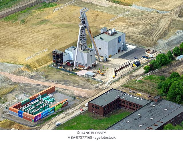 former coal mine Hugo 2 5 8, shaft 2, aerial view of Gelsenkirchen-Buer, Buer