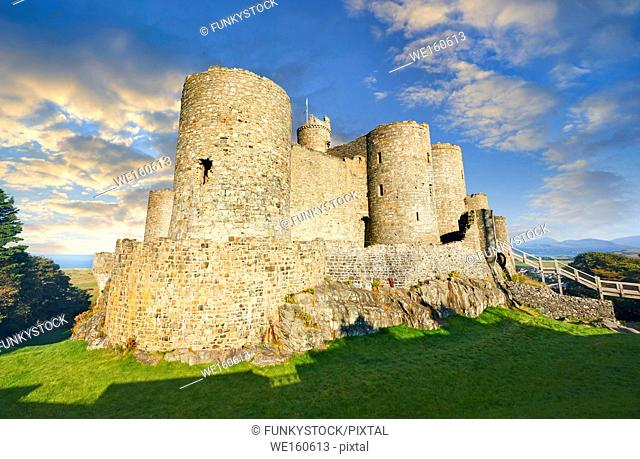 The medieval Harlech Castle built 1282 and 1289 for Edward 1st, one of the finest medieval examples of military architecture in Europe