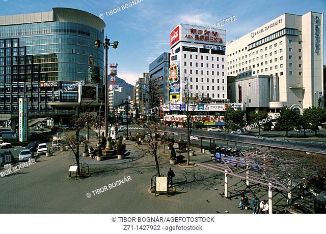 Japan, Central Honshu, Nagano, main square, street scene
