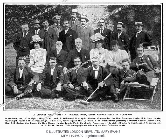 A cricket 'at home' at Wighill Park, Lord Hawke's seat in Yorkshire, with the Yorkshire team and sundry other cricket friends