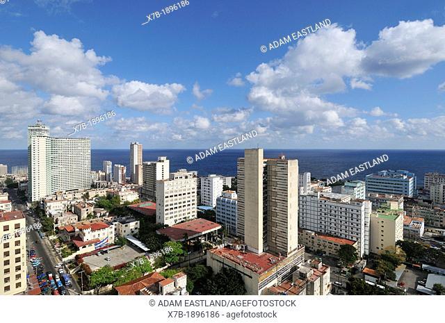 Cuba, Havana, View of high rise buildings in El Vedado