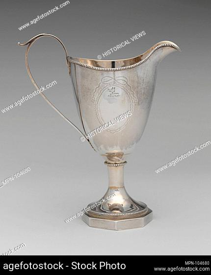 Creamer. Maker: Charles Faris (1764-1800); Date: 1790-1800; Geography: Made in Annapolis, Maryland, United States; Culture: American; Medium: Silver;...
