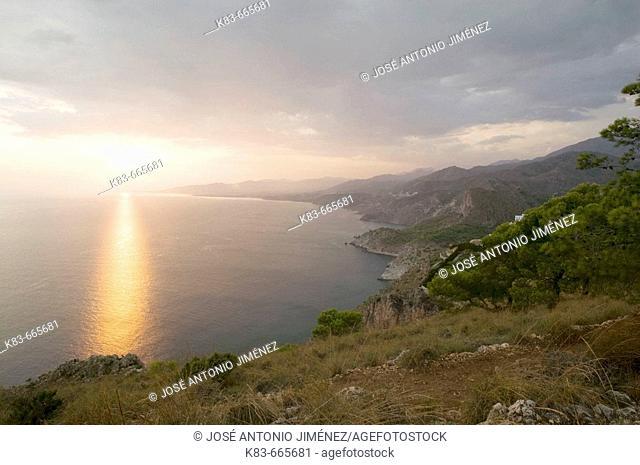 Maro-Cerro Gordo cliffs at sunset. Andalucia. Spain