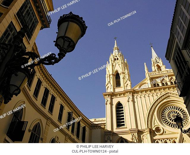 Spain, Andalusia, Malaga, Old Town, cathedral exterior, low angle view
