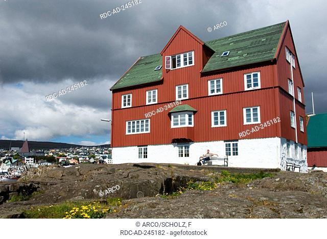 Assembly house of gouvernment former storehouse built 1750 old part of town on penninsula Tinganes Torshavn isle Streymoy Faro Islands Denmark Thorshaven Faerö...