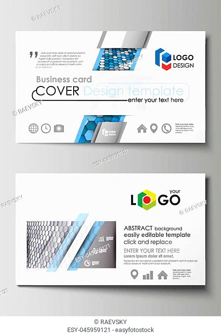 Business card templates. Easy editable layout, abstract vector design template. Blue and gray color hexagons in perspective