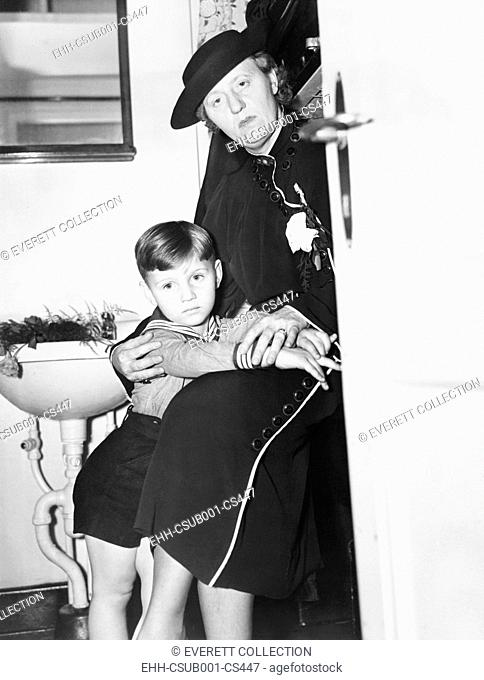 Mrs. Bruno Hauptmann and her son Manfried in her state room aboard the 'Bremen'. June 12, 1936. Anna and Manfried lived near Philadelphia