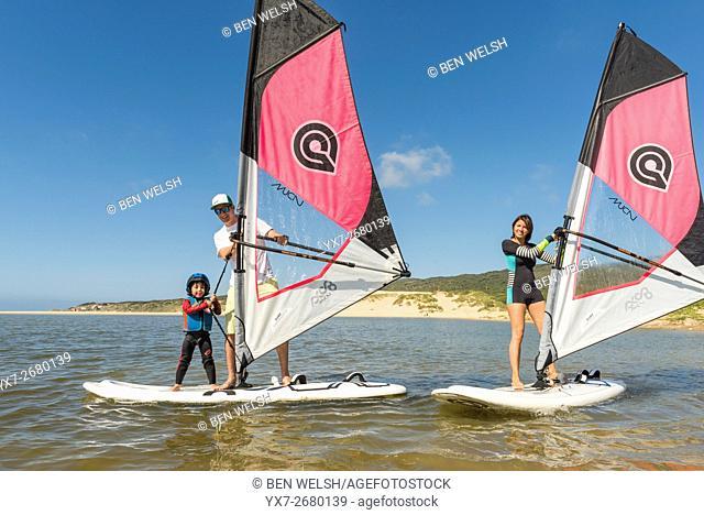 Windsurfing Instructor. Tarifa, Costa de la Luz, Cadiz, Andalusia, Spain, Southern Europe