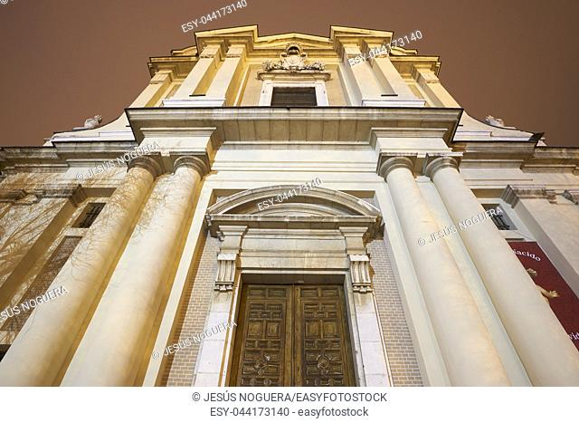 Neoclassical facade of the Church of San Pascual, in Aranjuez, Madrid. Spain