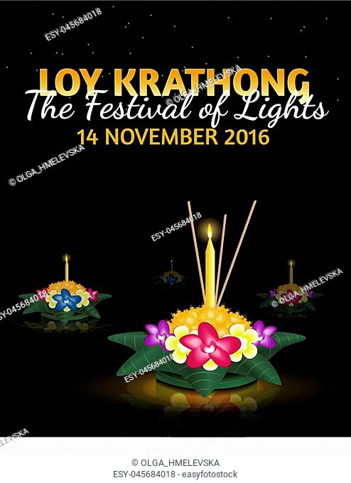 """Loy Krathong 2016 greeting card and invitation. Yi Peng Festival. Text """"""""The festival of lights"""""""". Floating krathongs on the water. Thai holiday"""