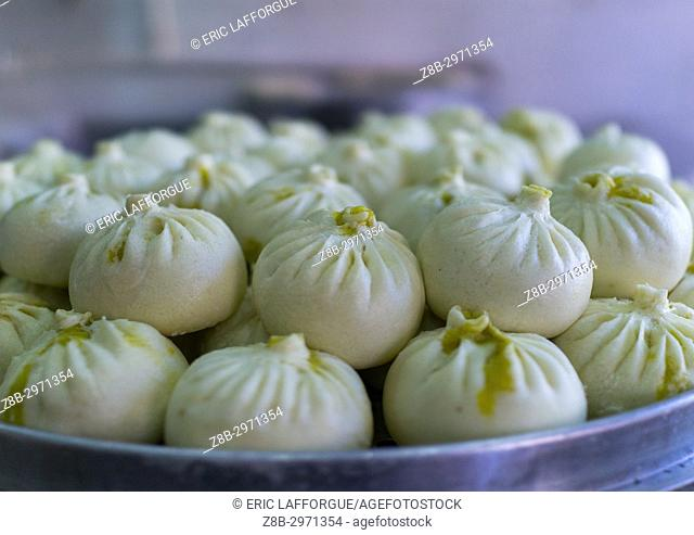 Typical street food dumplings called momos, Gansu province, Linxia, China