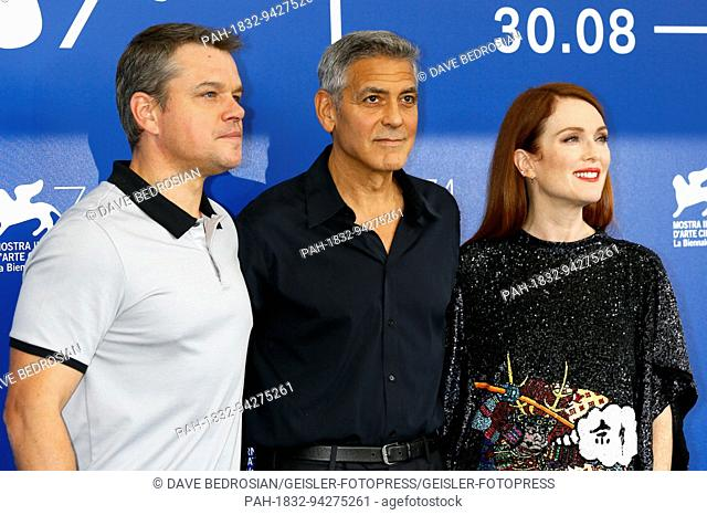 Matt Damon, George Clooney and Julianne Moore during the 'Suburbicon' photocall at the 74th Venice International Film Festival at the Palazzo del Casino on...
