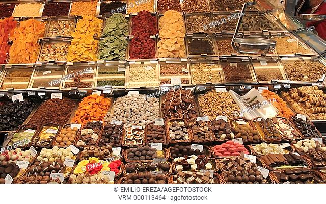 Sweets and chocolates. La Boqueria Market. Barcelona, Catalonia, Spain