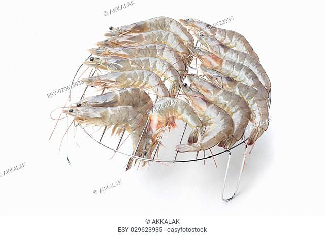 Fresh shrimps isolated on a white background
