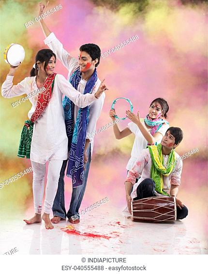 Friends enjoying Holi