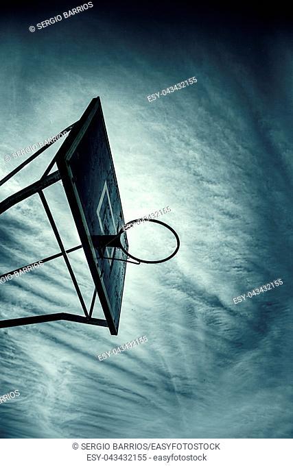Basket basketball, detail of an outdoor basketball court