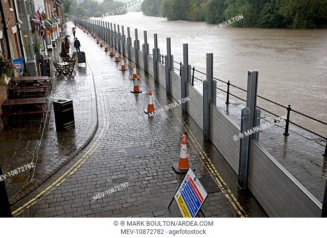 UK - Flood barriers protecting riverside houses along rising River Severn Bewdley Worcestershire
