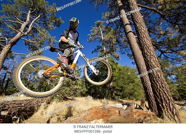 USA, California, Mountain biker jumping in air