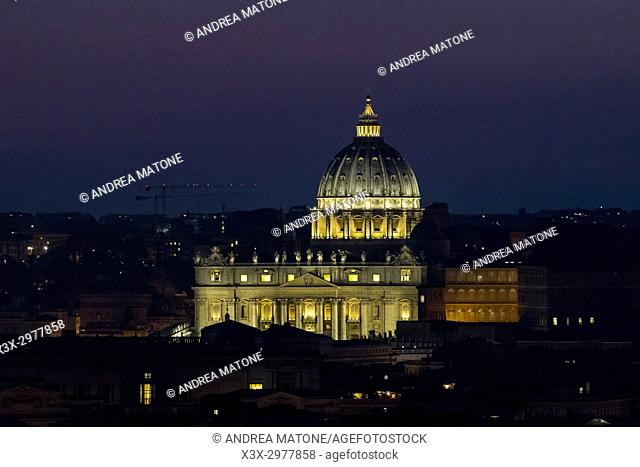 Saint Peter's square at night. Rome, Italy