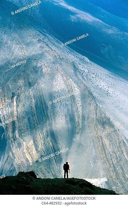 Man at the Himalayas. Nepal