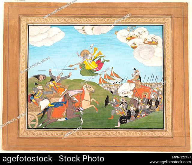 Vishnu as Varaha, the Boar Avatar, Slays Banasur, A Demon General: Page from an Unknown Manuscript. Date: ca.1800; Culture: India (Punjab Hills