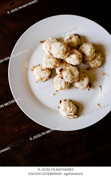 Coconut Cookies on White Plate, High Angle View