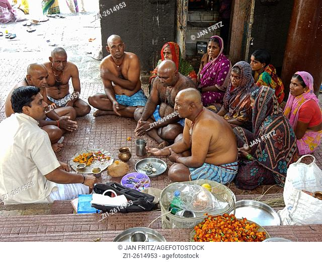 Indian family at funeral in Aurangabad, India