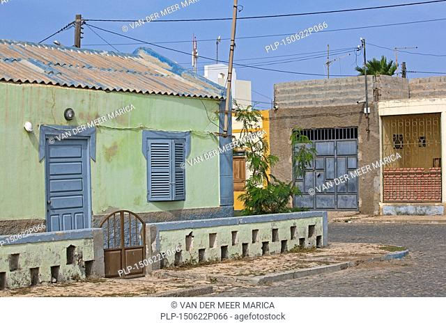 Colourful Portuguese colonial house in the old part of the fishing village Palmeira on the island of Sal, Cape Verde / Cabo Verde, Western Africa