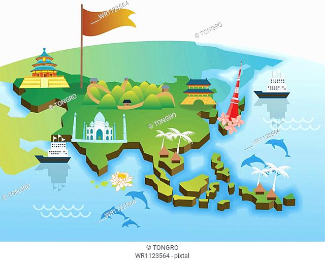 an illustration of the Asian map