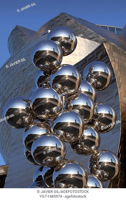 'Bolas' by Anish Kapoor, Guggenheim museum, Bilbao, Bizkaia, Spain