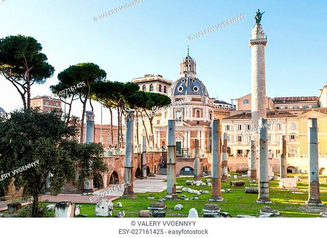 travel to Italy- piazza of Trajan's Forum, Trajan Column, Santissimo Nome di Maria al Foro Traiano Church in ancient roman forums in Rome city