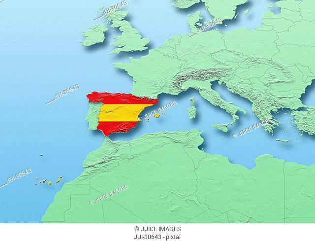 Spain, flag, map, Western Europe, green, blue, physical, political