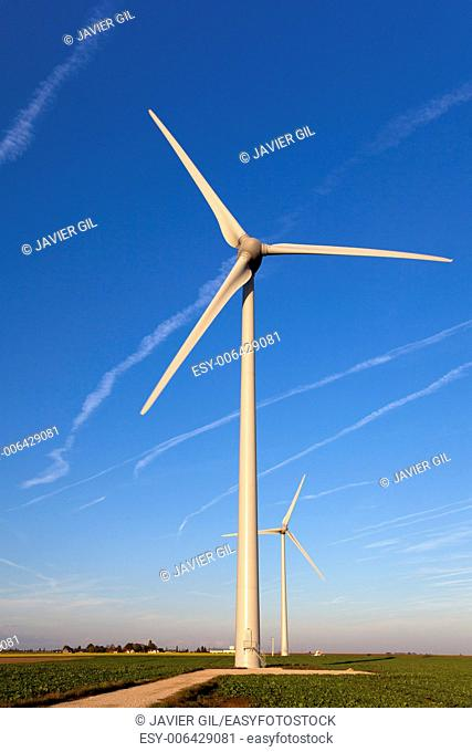Wind turbines in the Loire Valley, Centre, France