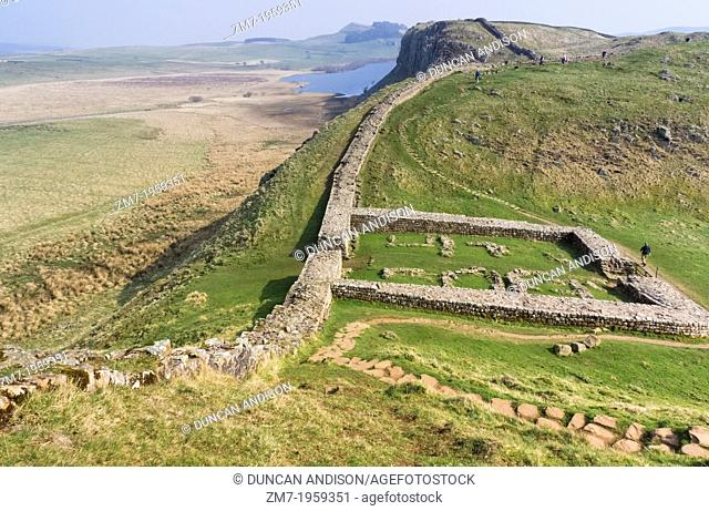 The remains of Milecastle 39, also known as Castle Nick, on Hadrian's Wall at Crag Lough, Northumberland