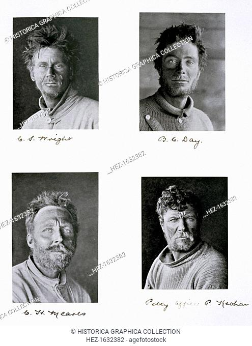 Members of Captain Scott's Antarctic expedition, 1910-1913. Four members of the 'Terra Nova' expedition to the South Pole