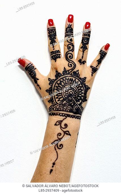 Woman hand with Henna tattoo, Casablanca, Morocco