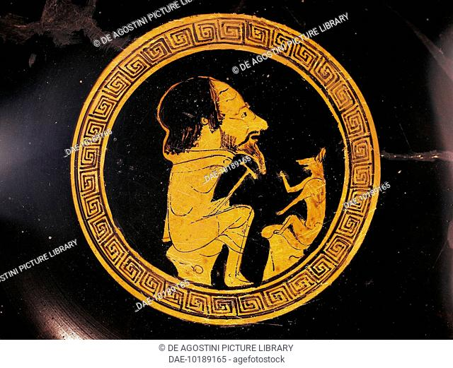 The fox telling Aesop about animals, decoration from an Attic red-figure vase. Greek civilisation, 5th century BC.  Città Del Vaticano, Vatican Museums