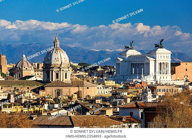 Italy, Lazio, Rome, historical center listed as World Heritage by UNESCO, Gianicolo Hill, Panoramic view of the Historical Centre listed as World Heritage by...