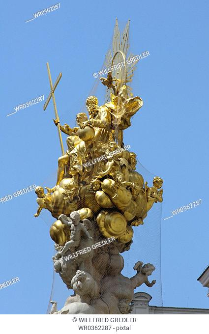 detail of the plague column with cross
