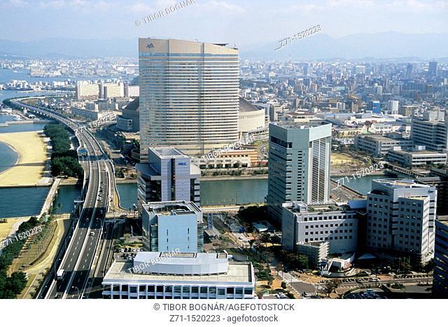 Japan, Kyushu, Fukuoka, Momochi area, aerial view