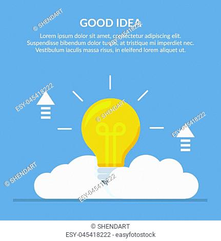 Good idea. Concept vector illustration with a big light bulb on a background of clouds