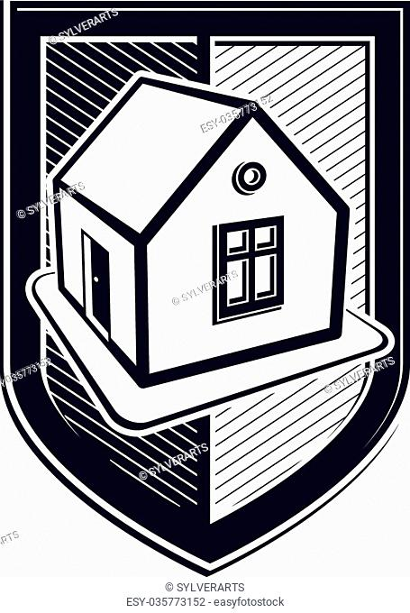 Home insurance vector conceptual icon, protection shield with simple house. Design element, construction idea. Heraldry