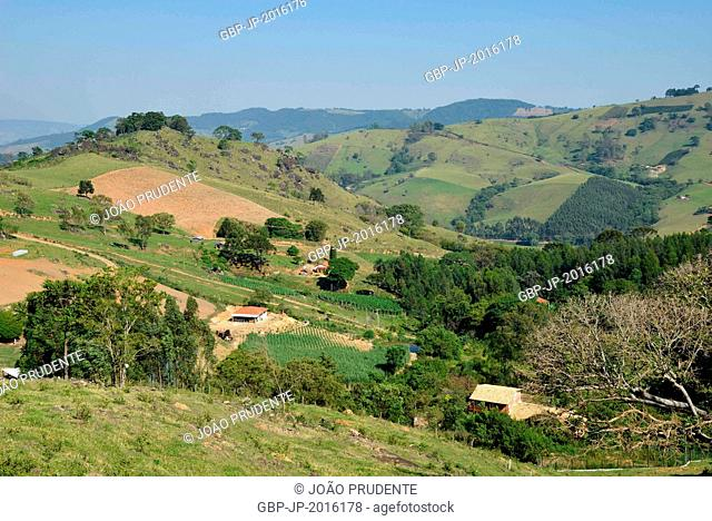Top view of the countryside especially in small fields of grass and tomato corn, Munhoz, Minas Gerais, Brazil. 10.2015