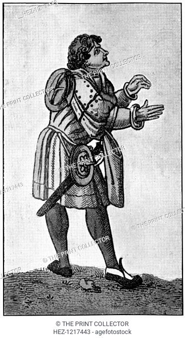 Male dress, 16th century, (1910). Example of men's dress showing the hanging sleeve. He is armed with sword and buckler (shield)