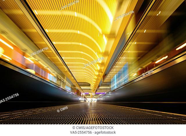 The running escalator in Taoyuan Airport, Taiwan