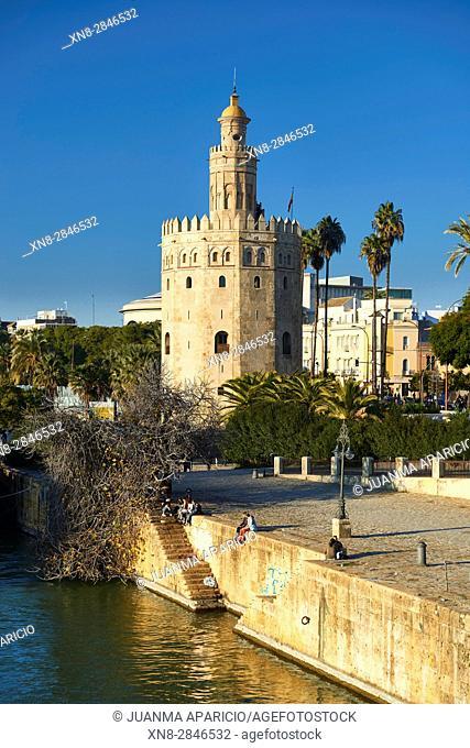 Guadalquivir River and Golden Tower, Sevilla, Andalusia, Spain, Europe