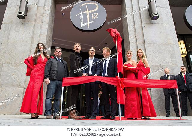 Builder Andreas Fettchenhauer (l-r), Investor Harald Huth, Carsten Spallek, city planning councillor Jens Kirbach cut the ribbon to open the Mall of Berlin at...