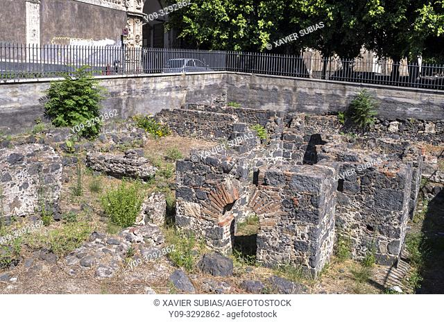 Ruins of the Roman Baths of the Acropolis, Catania, Sicily, Italy