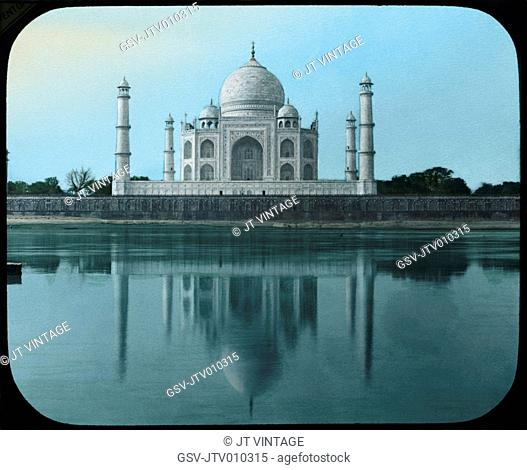 Taj Mahal from Yamuna River, Agra, India, Hand-Colored Magic Lantern Slide, Newton & Company, 1915